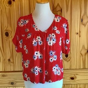 Madewell Red Floral Pullover Blouse Size Small